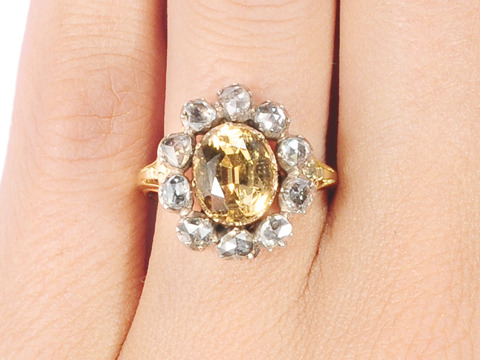 Celestial Halo: Georgian Topaz Diamond Ring