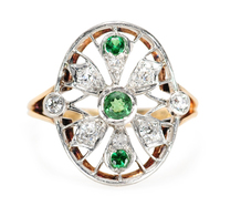 Web of Art Deco in a Demantoid Garnet Ring