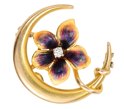 Night A'bloom: Crescent Moon Brooch