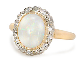 Optical Profusion of Colors: Opal Diamond Ring