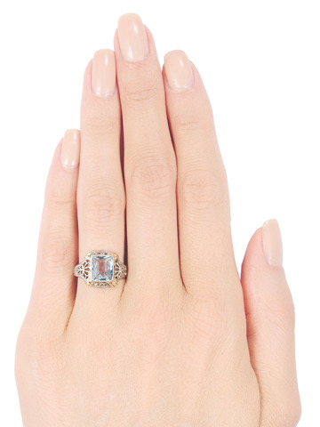 Open Air: Vintage Aquamarine Filigree Ring