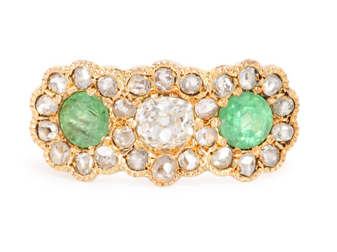 A Difference: Edwardian Diamond & Demantoid Ring