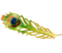Krementz Art Nouveau Peacock Feather Brooch