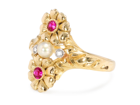 French Art Nouveau Ruby Pearl Ring