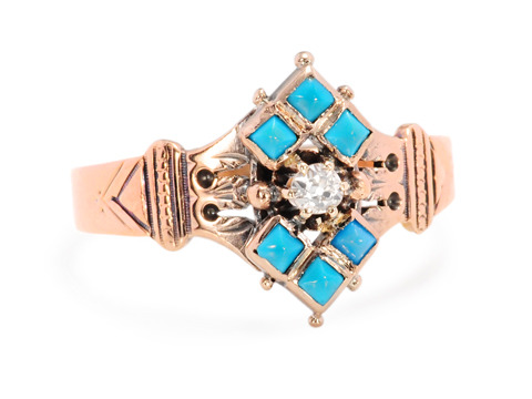 Not a Typical Victorian Diamond Turquoise Ring
