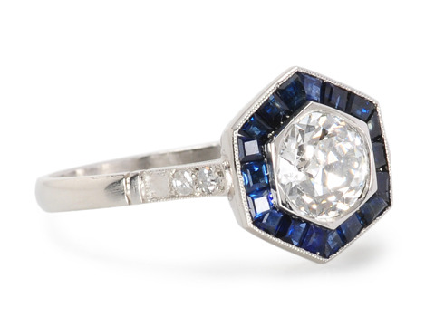 Pairing of Equals - Diamond Sapphire Ring
