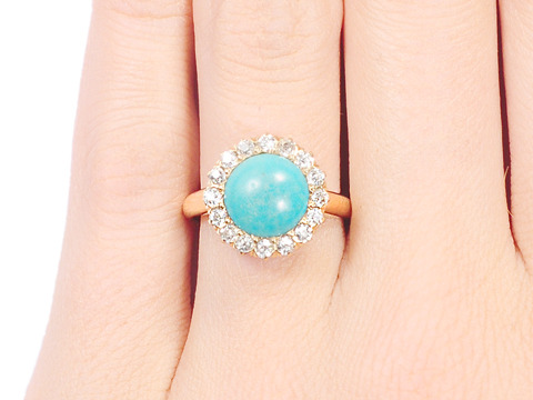 Celestial Edwardian Turquoise Diamond Halo Ring