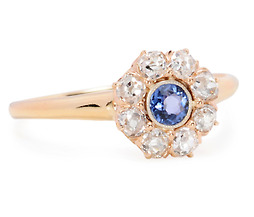 Flirty Edwardian Sapphire Diamond Cluster Ring