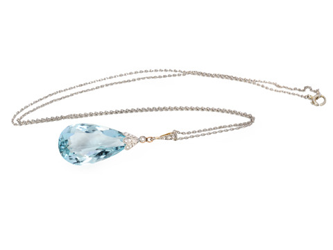 Tears of Joy: Aquamarine Diamond Pendant Necklace