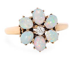 Opal  & Diamond Flower Ring