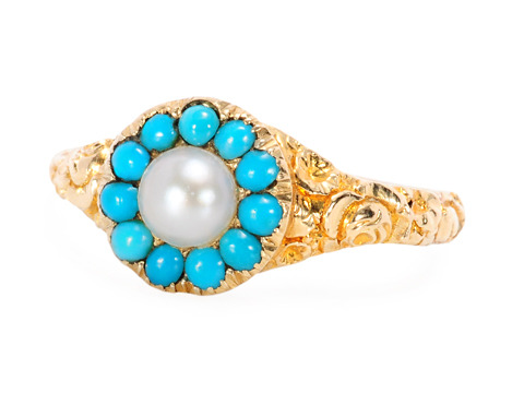 Nature's Bounty: Pearl Turquoise Cluster Ring