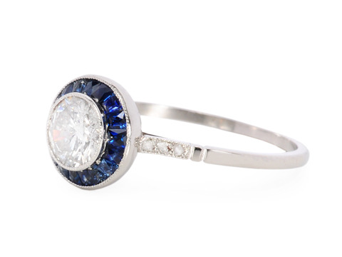 Halo Diamond Sapphire Engagement Ring