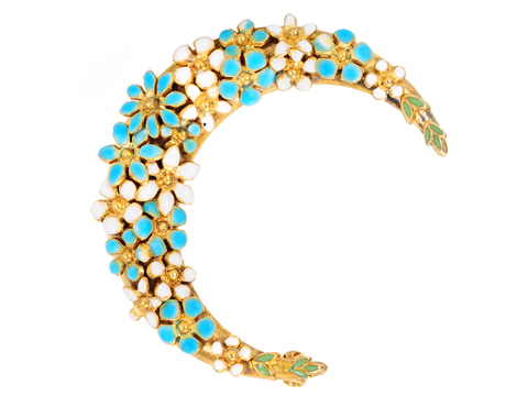 Edwardian Crescent Moon Floral Brooch