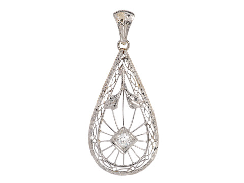 Vintage Teardrop Diamond Pendant