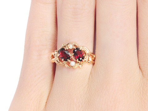 Feminine Antique Garnet Pearl Ring