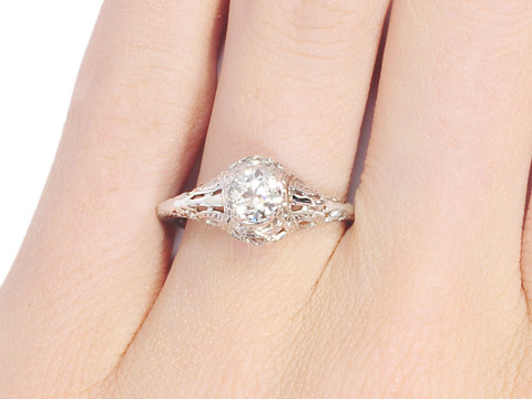 Ribbons of Wonder - Estate Diamond Engagement Ring
