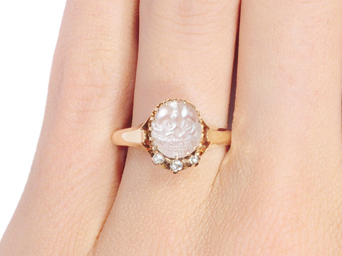 Victorian Carved Baby Face Moonstone Ring