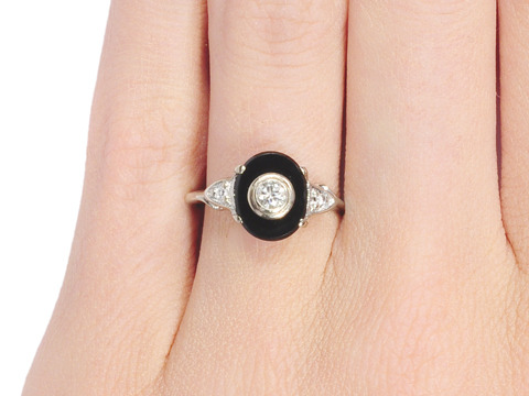 Dramatic Art Deco Onyx Diamond Ring