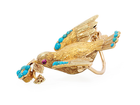 Take Flight - Symbolic Turquoise Bird Brooch