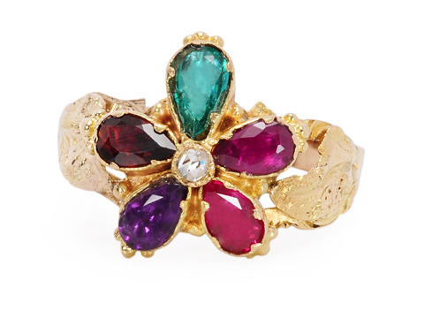 Romantic Georgian REGARD Pansy Ring