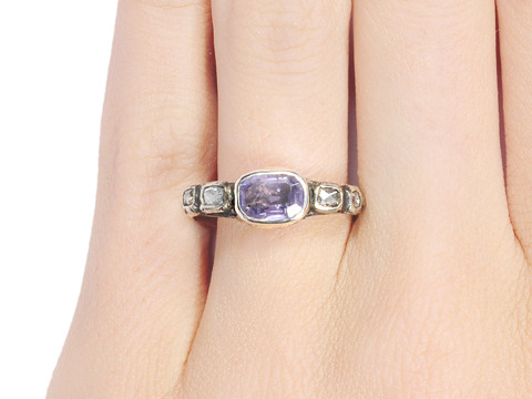 18th Century Lilac Sapphire Diamond Ring