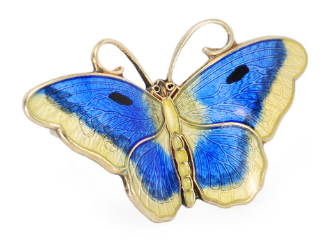 Flight: Signed Hroar Prydz  Enamel Butterfly Brooch