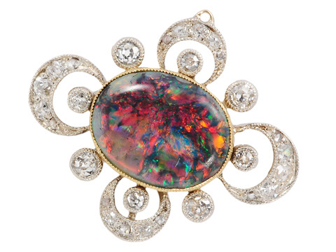 Celestial Skyscape: Black Opal Diamond Pendant