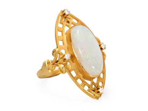 White Opal Arts & Crafts Ring
