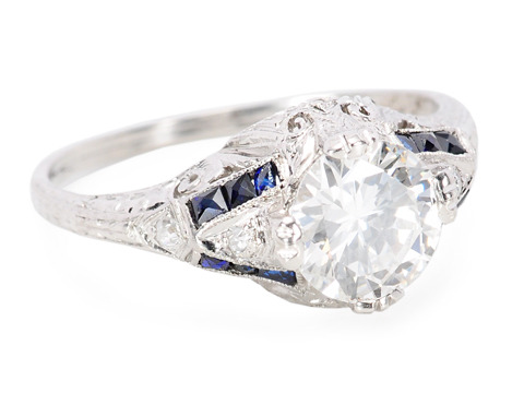 Great Love: Vintage Art Deco Diamond Sapphire Ring