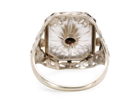 Vintage Diamond & Camphor Glass Ring