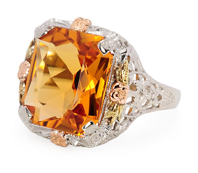 Glow from Within - Art Deco Citrine Ring