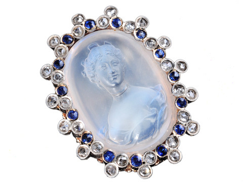 Divine French Carved Moonstone Brooch