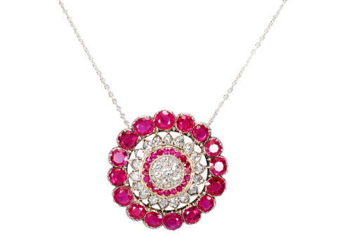 Wrapped in Red - Ruby Diamond Pendant