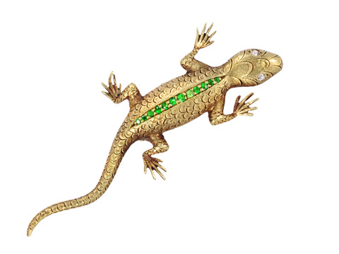 Demantoid Garnet Lizard Brooch