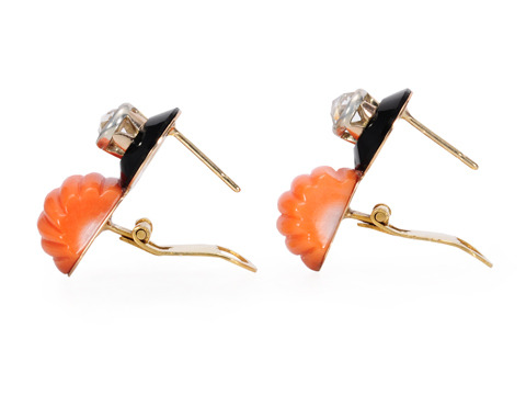 Art Deco Dandy: Coral Onyx Diamond Earrings