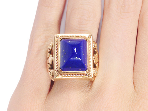 Antique Sugarloaf Lapis Ring