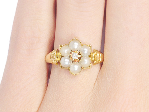 Antique Pearl Diamond Ring of 1872