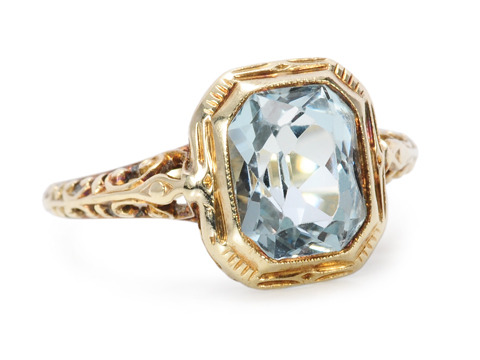 Larter & Sons Art Deco Aquamarine Ring