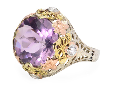 Spring Fever - Amethyst Three Tone Ring