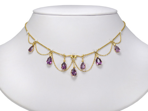 Krementz Evocative Amethyst Festoon Necklace