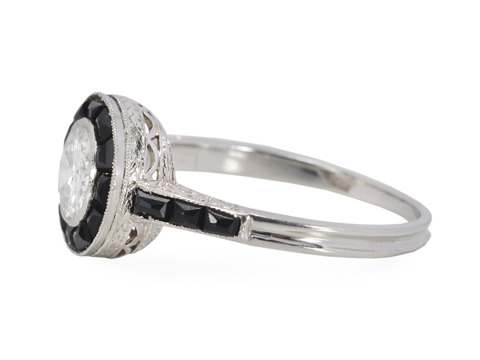 Opposites Attract - Diamond Onyx Target Ring
