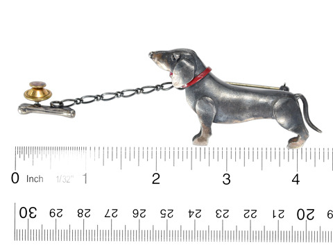 English Sterling Dachshund Dog Brooch