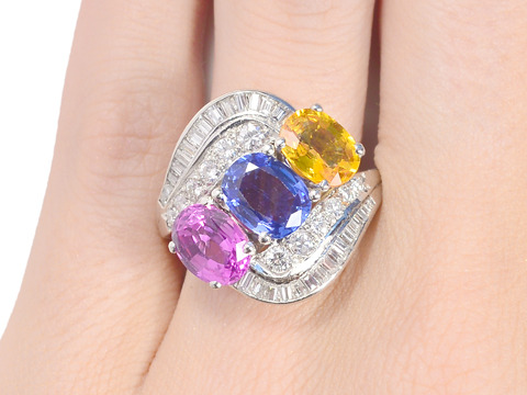 Kaleidoscope of Color - Triple Sapphire Ring