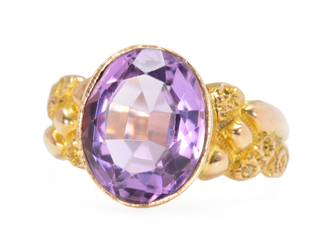 Dated 1901 Amethyst Solitaire Ring