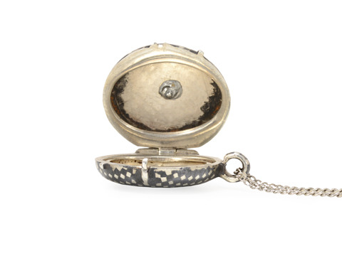 Edwardian Niello & Silver Locket