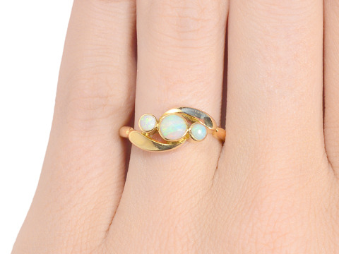 Diagonal Daring - Art Deco Opal Ring