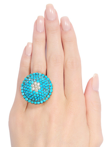 Dome of Desire - Turquoise Pearl Ring