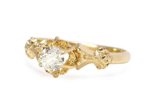 Edwardian Champagne: Diamond Solitaire Ring