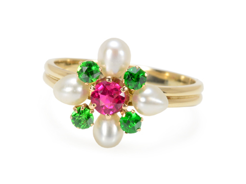 Colorful Bouquet: Ruby Pearl Demantoid Ring