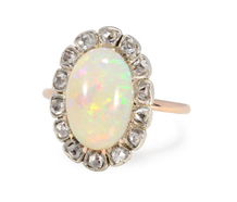 Cinematic Display: White Opal Diamond Cluster Ring